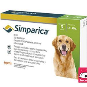 SIMPARICA PASTILLA ANTIPULGAS 80 MG. 20 a 40 kg (1 pastilla ) 35 DÍAS DURACIÓN